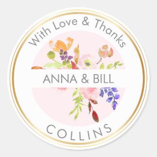 PixDezines Watercolor Floral/Ranunculus/Thank You Round Sticker