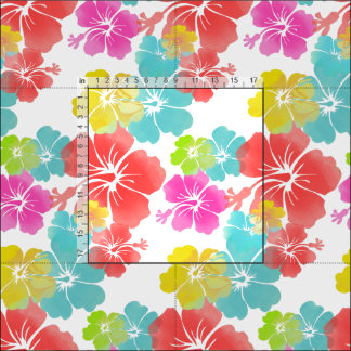 PixDezines watercolor hibiscus/pink/green/aqua Fabric