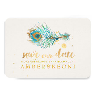PixDezines Watercolor Peacock Plume/save our date Card