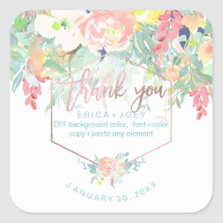 PixDezines Watercolor Peonies Peach+Mint/Thank You Square Sticker