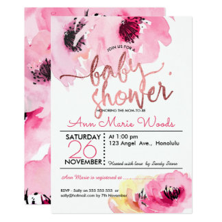PixDezines Watercolor Pink Roses Baby Shower Card