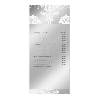PixDezines White Damask, Spa Services Menu