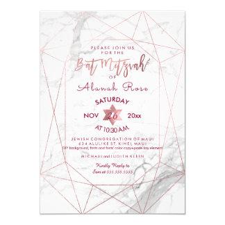 PixDezines White Marble Bat Mitzvah/Rose Gold Card