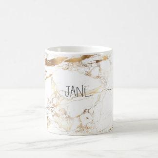 PixDezines WHITE MARBLE+FAUX GOLD VEINS Coffee Mug