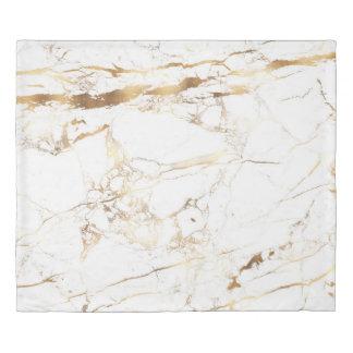 PixDezines WHITE MARBLE+FAUX GOLD VEINS Duvet Cover