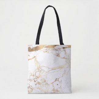 PixDezines WHITE MARBLE+FAUX GOLD VEINS Tote Bag