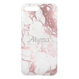 PixDezines White Marble+Faux Rose Gold iPhone 7 Plus Case