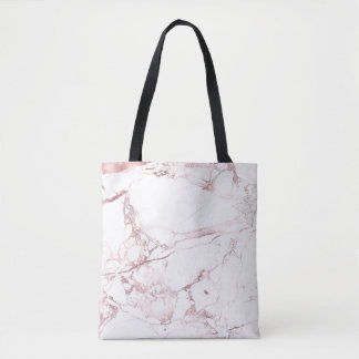 PixDezines WHITE MARBLE+FAUX ROSE GOLD VEINS Tote Bag