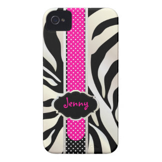PixDezines White Zebra/Pink+Black/DIY color iPhone 4 Cover