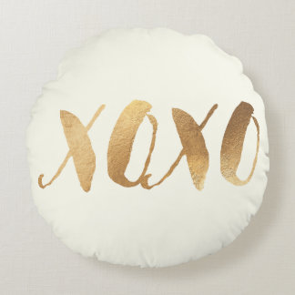 PixDezines XOXO/Faux Gold/Hearts/DIY background Round Pillow
