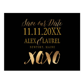 PixDezines XOXO/SAVE OUR DATE/FUN SCRIPT Postcard