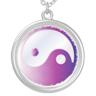 PixDezines Yin Yang, Fuschia Silver Plated Necklace