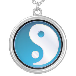 PixDezines Yin Yang, Teal Silver Plated Necklace
