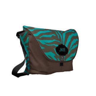 PixDezines zebra stripes/monogram/teal Courier Bag