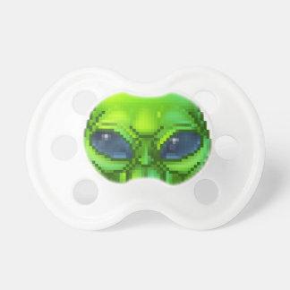 Pixel Art Alien Character Baby Pacifier