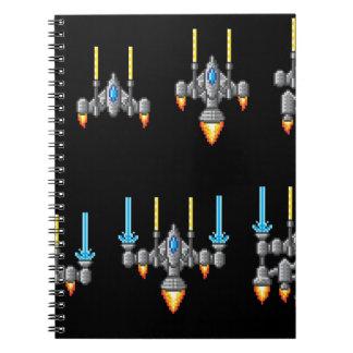 Pixel Art Arcade Video Game Spaceship Spiral Note Book