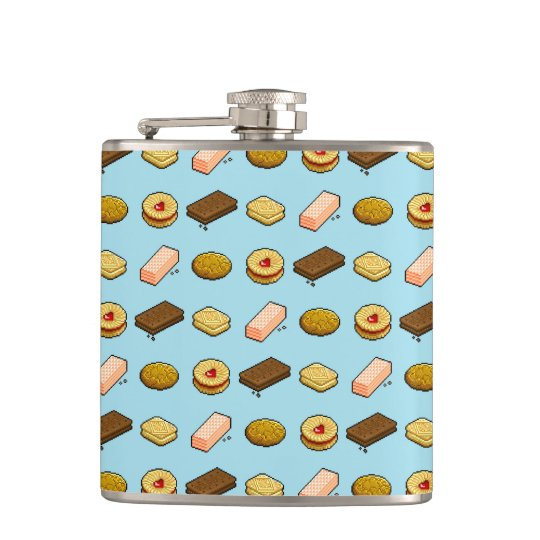 Pixel Art Biscuit and Cookie Selection Pattern Hip Flask