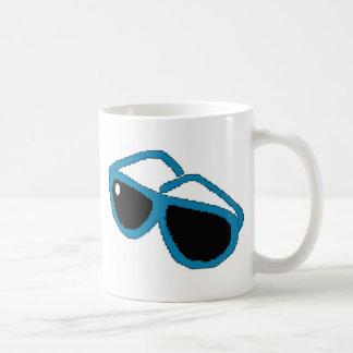 Pixel art blue sunglasses classic white coffee mug