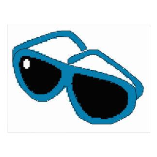 Pixel art blue sunglasses postcard