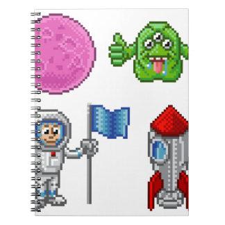 Pixel Art Cartoon Space Set Notebooks