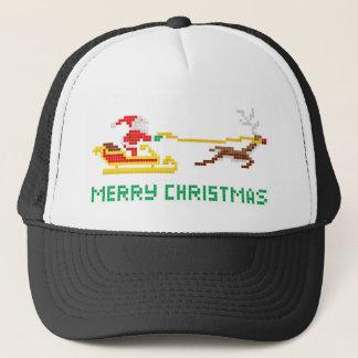 Pixel art Christmas Santa and Sled Trucker Hat