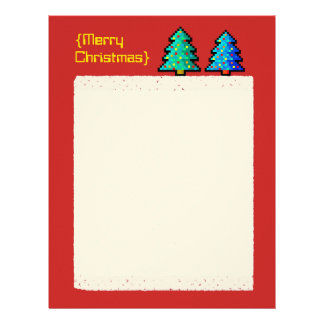 Pixel art Christmas tree green with decorations Letterhead