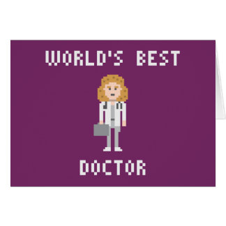 Pixel Art Female Doctor Greeting Card