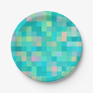 Pixel Art Multicolor Pattern Paper Plate