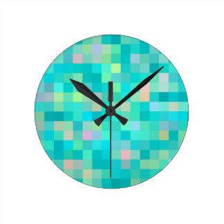 Pixel Art Multicolor Pattern Round Clock
