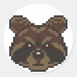 Pixel-Art Raccoon Classic Round Sticker
