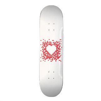 Pixel art red retro heart skateboard
