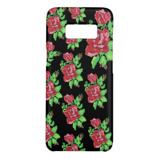 PIXEL ART ROSES Samsung Case(Small Roses on Black) Case-Mate Samsung Galaxy S8 Case