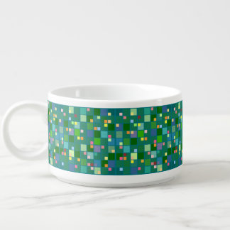 Pixel block abstract art bright squares on green bowl