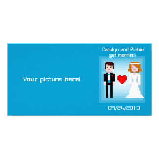 Pixel Bride and Groom - Photo Save the Date - Blue Personalized Photo Card
