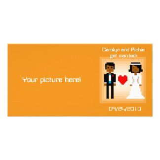 Pixel Bride and Groom - Photo Save the Date - Orng Personalized Photo Card