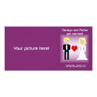 Pixel Bride and Groom - Photo Save the Date - Plum Photo Greeting Card