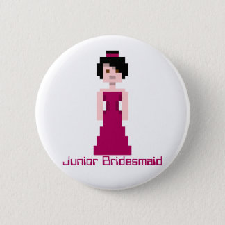 Pixel Bridesmaid - Maroon - black hair - Ivy Custo 2 Inch Round Button