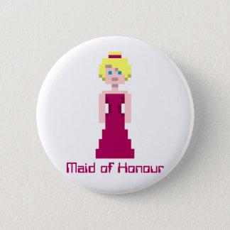 Pixel Bridesmaid - Maroon Custom 2 Inch Round Button