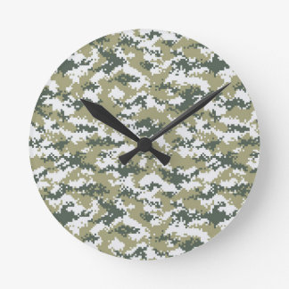 Pixel Camo Round Clock