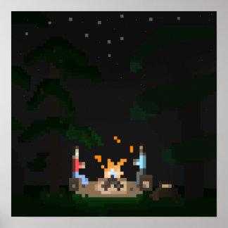 Pixel Campfire Poster
