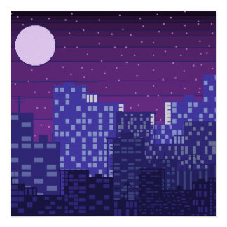 Pixel City Night Scene Poster