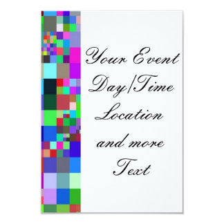 "Pixel colorful. 3.5"" x 5"" invitation card"