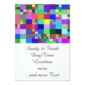 "Pixel colorful. 5"" x 7"" invitation card"