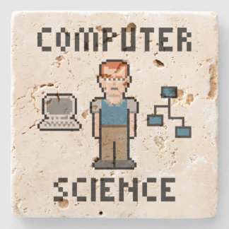 Pixel Computer Science Travertine Coaster Stone Beverage Coaster