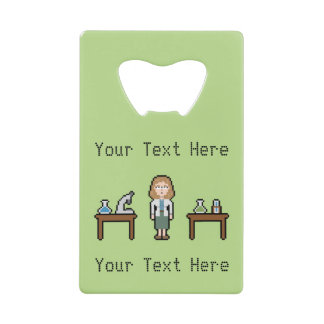 Pixel Custom Female Scientist Wallet Bottle Opener