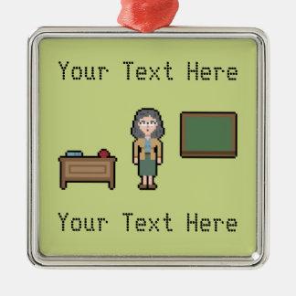 Pixel Custom Female Teacher Silver-Colored Square Ornament
