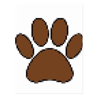 Pixel Dog Paw Print Postcard