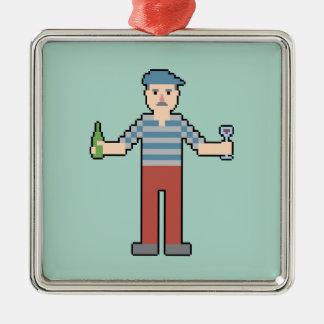 Pixel French Silver-Colored Square Ornament