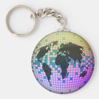 Pixel Globe Basic Round Button Keychain