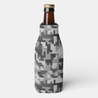 Pixel Grey and Black Army pattern Bottle Cooler